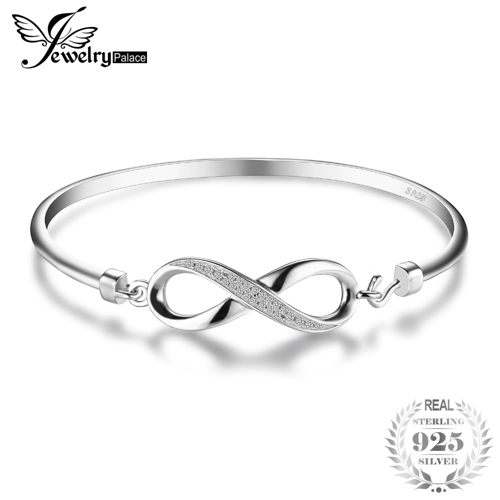 JewelryPalace Forever Love Infinity Cubic Zirconia Anniversary Bangle Bracelet Pure 925 Sterling Silver Jewelry Wedding Bracelet anchor infinity love layered bracelet