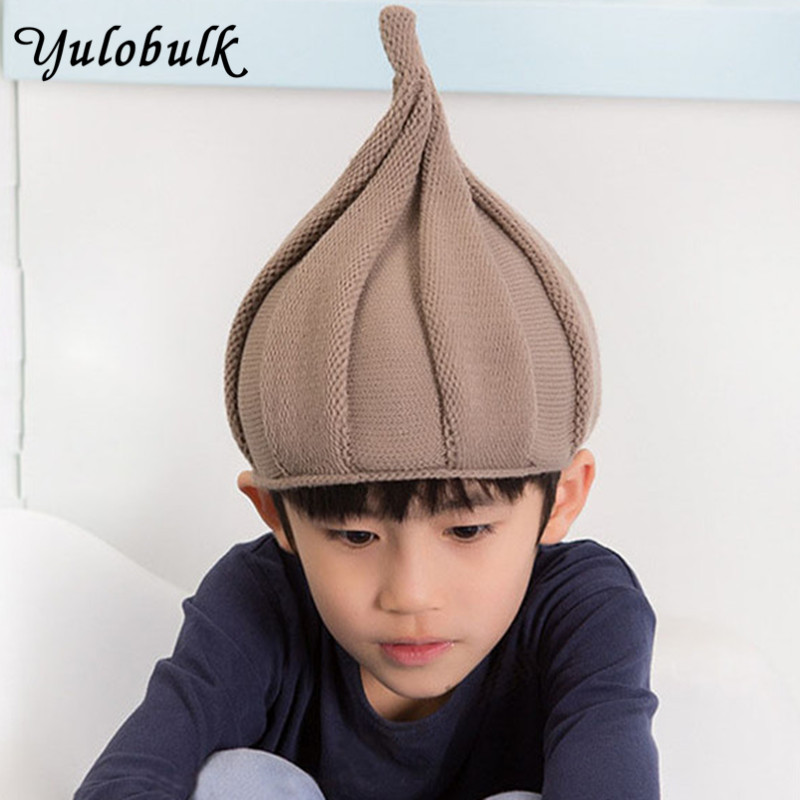 Knitting Children Hats Pointed Onion Shape Boys And Girls Winter Cap Warm Beanies Cute Twisting Hat Gorros Invierno Kids Gift