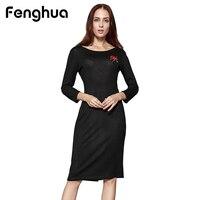 Fenghua Casual Long Sleeve Dress Women Winter Autumn Dresses 2017 Fashion Sexy Backless Embroidery Dress Female