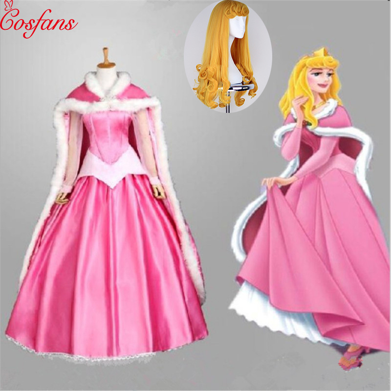 2019 NEW Grimm's Fairy Tales Sleeping Beauty Princess Dress Up Women Costumes Party Pink Dress Cloak And Wig Blue Dress Girls