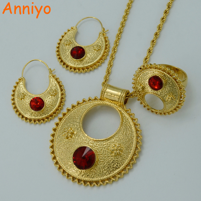 Anniyo Stone Ethiopian Jewelry sets Pendant NecklacesEarringsRing