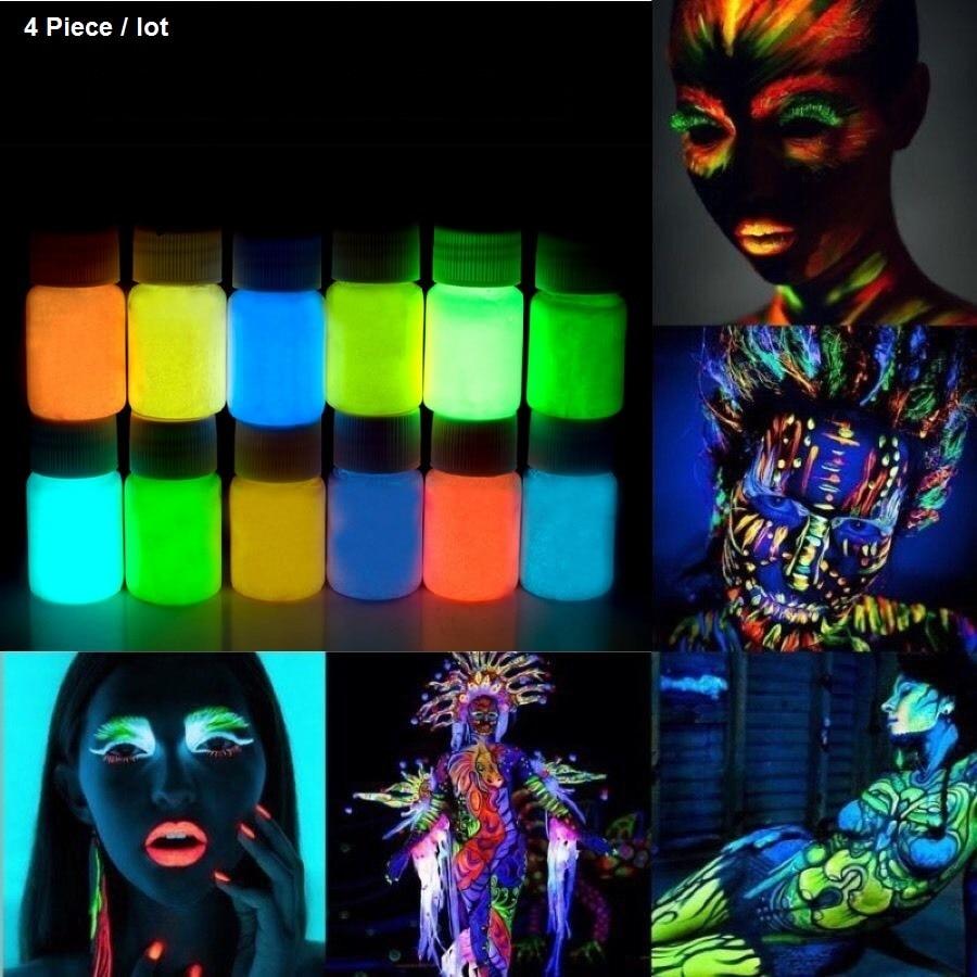 4 X Λαμπερό λάμψη στο σκοτάδι Σώμα προσώπου Βαφή 25g για πάρτι, Πάσχα 12 Χρώματα φωτεινά Ακρυλικά χρώματα