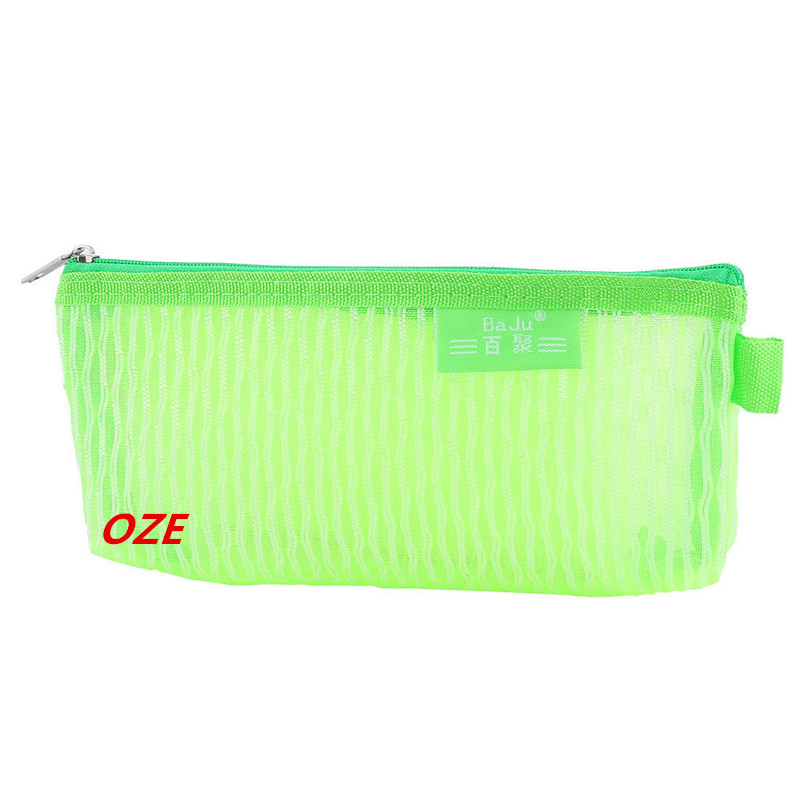 1 PCS Student Nylon Mesh Zippered Pen Pencil Case Bag Stationery Pouch Holder Green