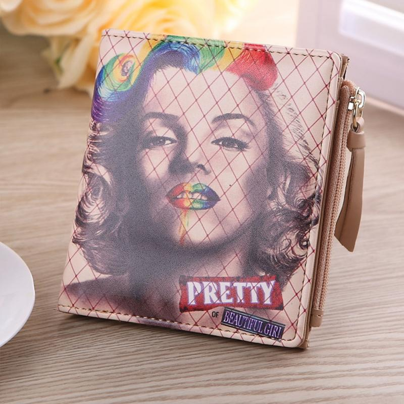 2018 Women Fashion Coin Purse&Wallets Vintage Marilyn Monroe Cartoon Cat Women Wallets Brand Female Thin Short Wallet Clutch