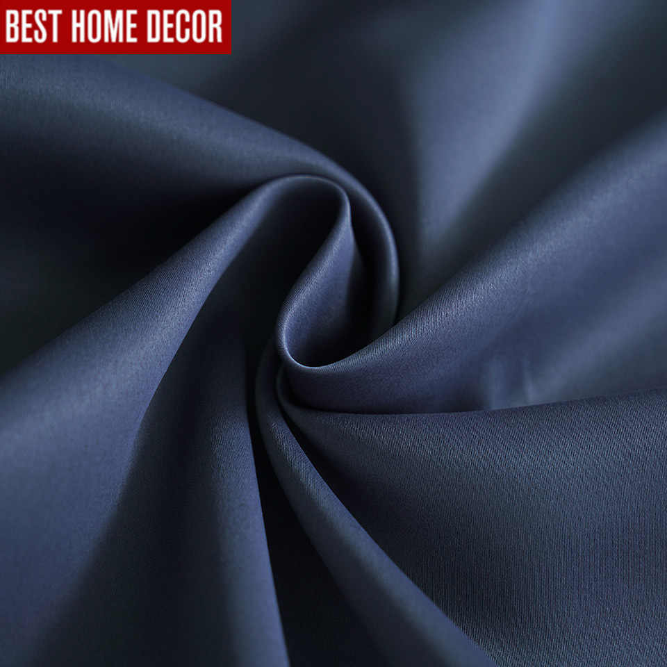 Modern blackout curtains for living room bedroom curtains for window drapes deep blue finished blackout curtains 1 panel blinds