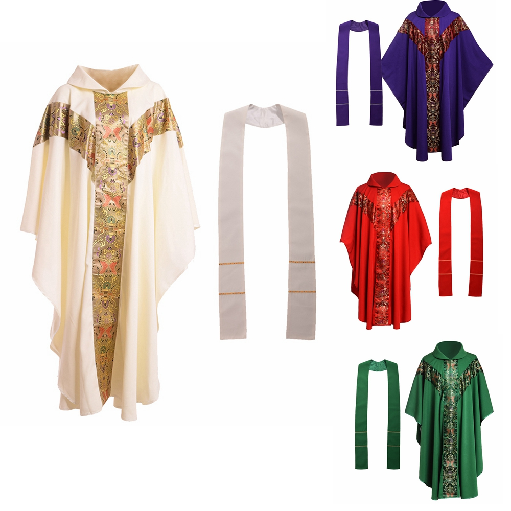 Formal Men Priest Costume Catholic Church Clergy Vestments Cassock Chasuble Cope Robe