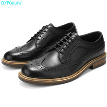 2019 Vintage Brogue Shoes Mens Oxford Shoe Genuine Cow Leather Lace Up Formal High Quality Fashion Dress