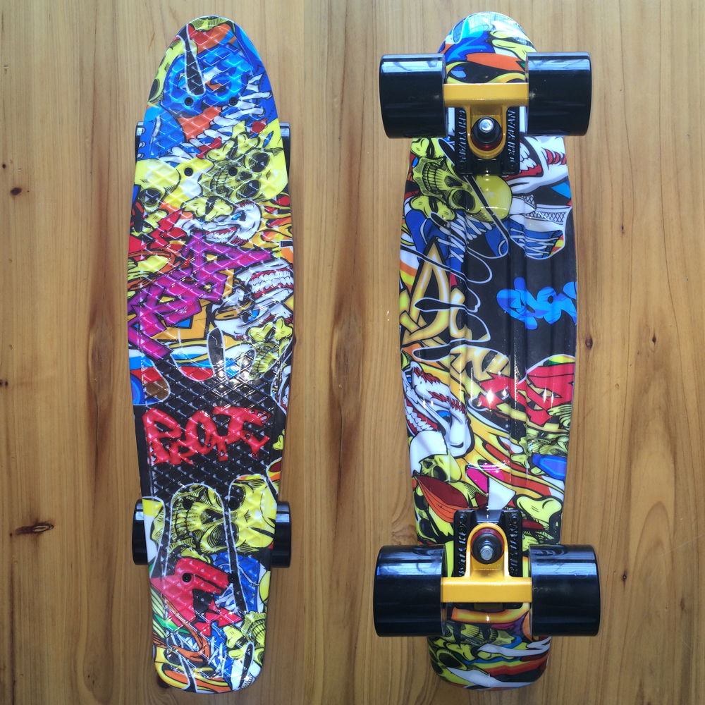 CHI YUAN Skateboard Skull Graphic Printed Mini Cruiser Skate Board 22 X 6 Retro Longboard Skate Long Board