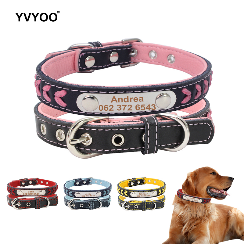 YVYOO Custom Leather Dog Collars Adjustable Personalized Dogs ID Collar Free Engraving For Small Medium Dogs Cats XS/S/M/L
