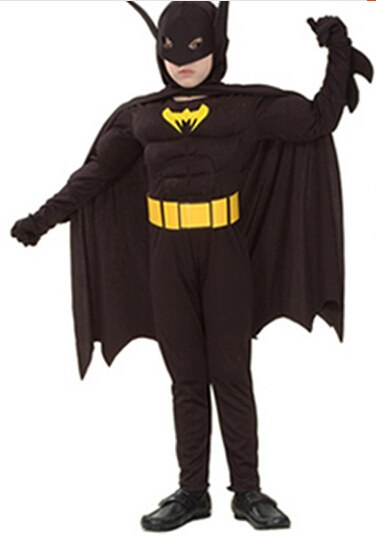 halloween superhero batman costume super hero costume 110-140cm muscle boy birthday party gift jumpsuit+cloak+belt