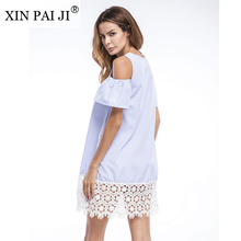 XIN PAI JI Summer Dress 2017 Cold Shoulder Women White Lace Patchwork Striped Beach Casual Round Neck Shift Mini Dress