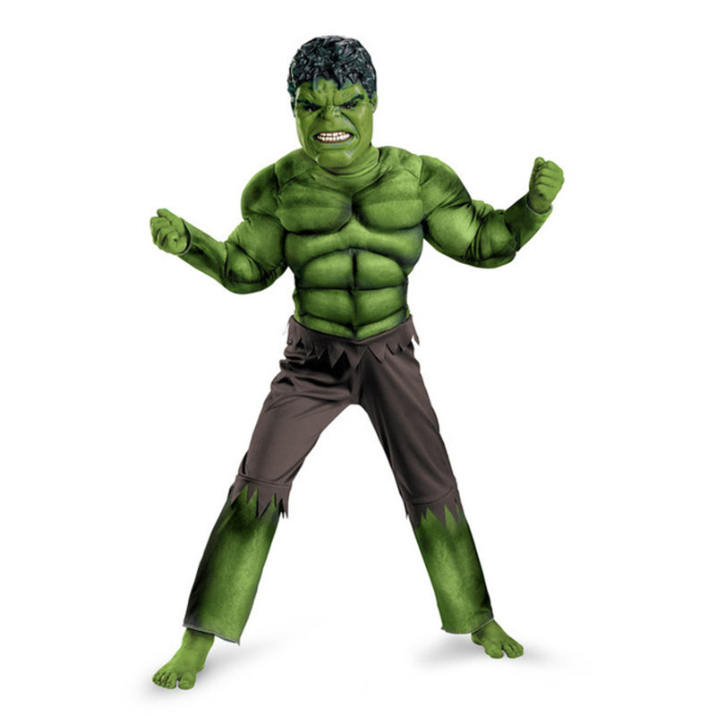COULHUNT 2018 The Avengers Hulk Costume for boys Cosplay Halloween Muscle Green Cosplay Carnival Fancy Dress for Kids