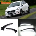 eeMrke Car LED DRL For Mazda 2 Demio 2012 2013 2014 Yellow Turn Signal Xenon White DRL Fog Cover Daytime Running Lights Kits