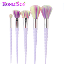 5pcs/set Unicorn Thread Makeup Brushes Set Rainbow Hair Cosmetic Foundation Eye shadow Blusher Powder Unicorn Blending Brush