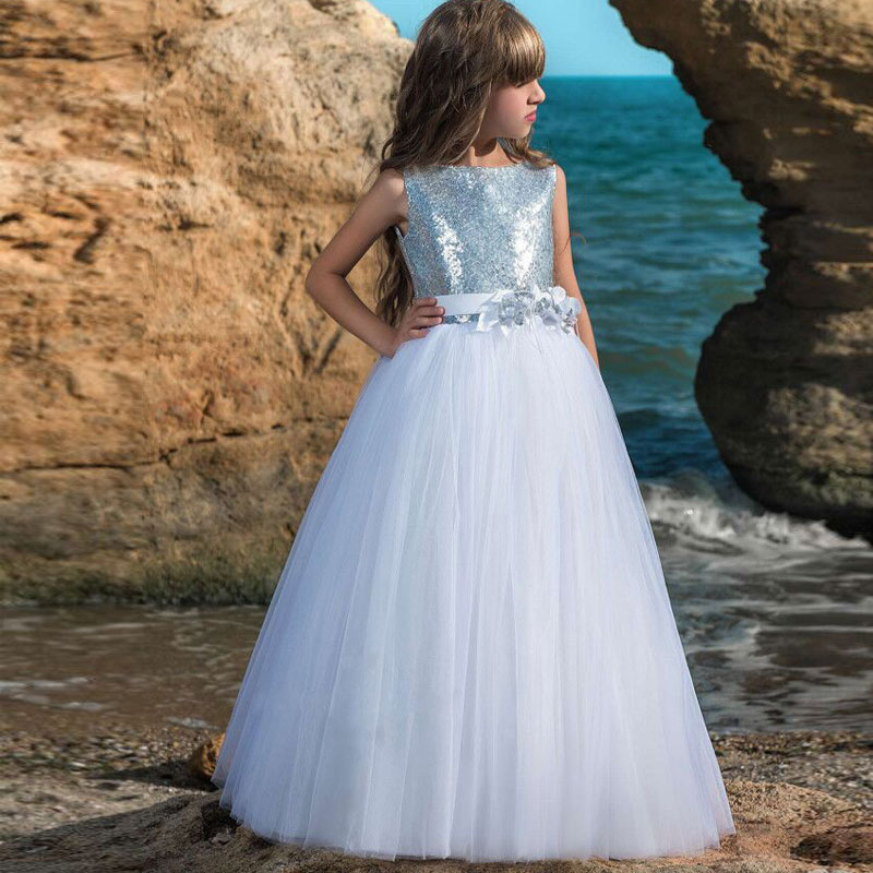 Fashion V Back Sparkling Silver Sequined Flower Girl Dress Sleeveless Fluffy Tulle Girls Pageant Ball Gowns Holy Communion Gowns gorgeous lace beading sequins sleeveless flower girl dress champagne lace up keyhole back kids tulle pageant ball gowns for prom