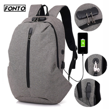 FONTO 15 inch Laptop USB Charging Port Backpack Password Lock School Bag Pack Adult Travel Student Computer Business Backpacks computer lapto backpack school bag pack adult college student bag business backpack male unisex waterproof travel backpacks man