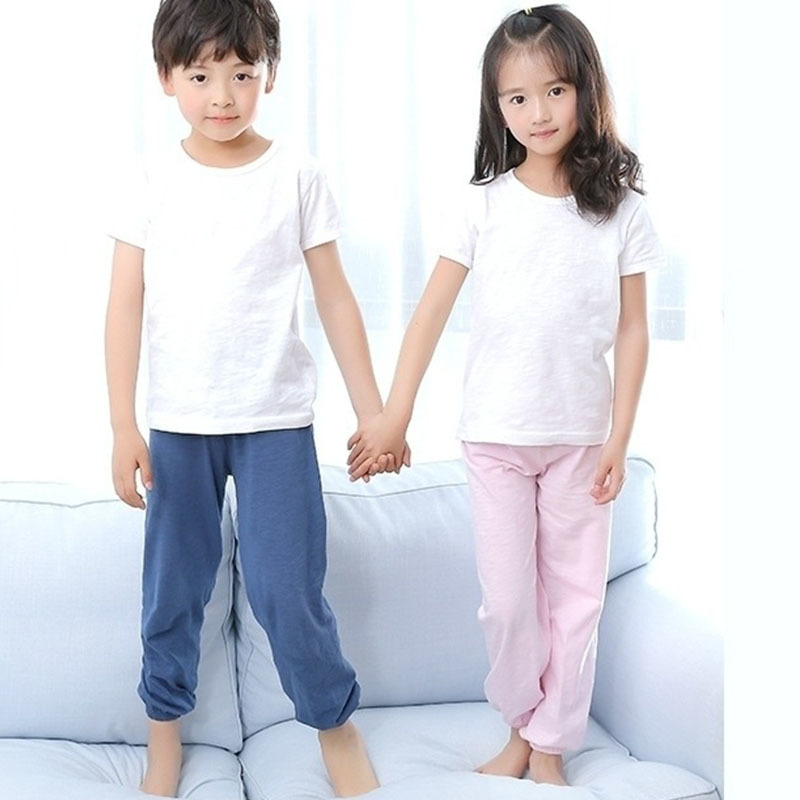 kids pants cotton unisex children's clothing children unisex pajama bottoms girls elastic waist blue pink grey red boys clothes