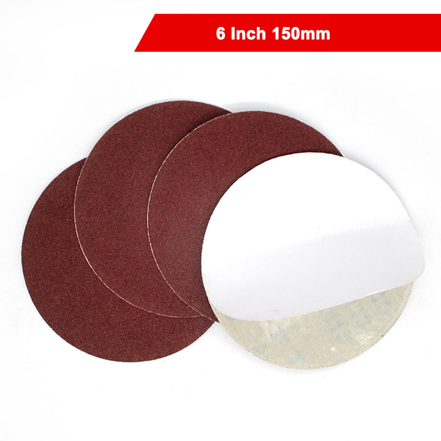 2-20Pcs 6 Inch 150mm Round Dry Sandpaper Glue Backing Pad Disk Sand Sheets Grit 60 80 Hook And Loop Sanding Disc