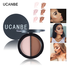 UCANBE 2 Colors Contour Palette Highlighter & Bronzer Press Powder Shimmer Grooming Powder Professional Facil Concealer Makeup