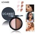 UCANBE 2 Cores Contour Palette Highlighter & Bronzer Facil Shimmer Pó Preparação Profissional de Imprensa Em Pó Corretivo Maquiagem
