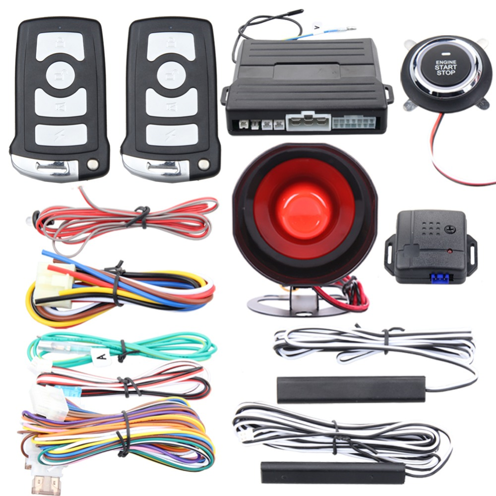 Quality universal PKE car alarm system passive keyless entry remote engine start stop push engine start stop vibration alarm universal pke car security alarm system with remote engine starter start stop push button passive keyless entry starline