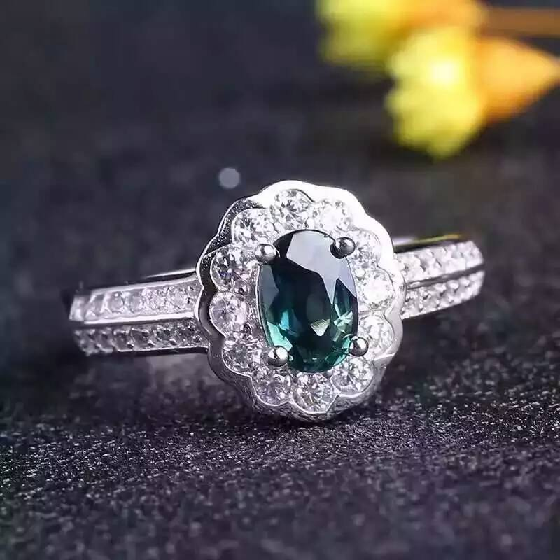 Natural blue sapphire stone gem Ring Natural gemstone Ring S925 sterling silver trendy Elegant round women's party fine Jewelry