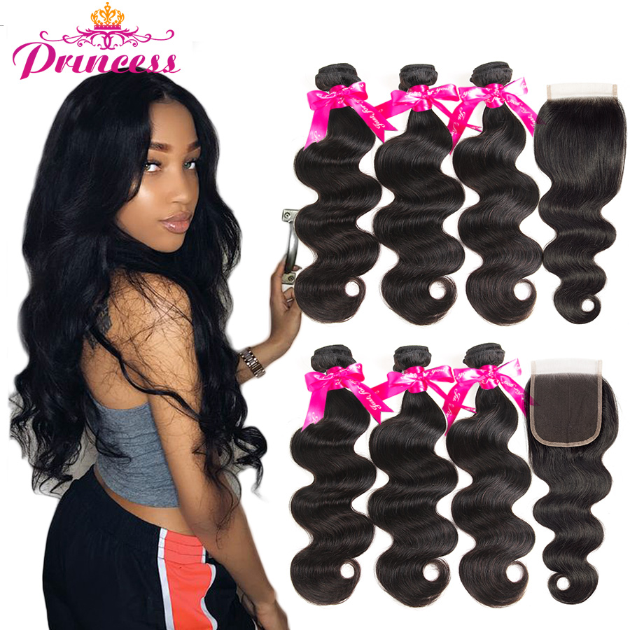 Hair Closure Human-Hair-Bundles Lace Body-Wave Remy Beautiful Princess Peruvian