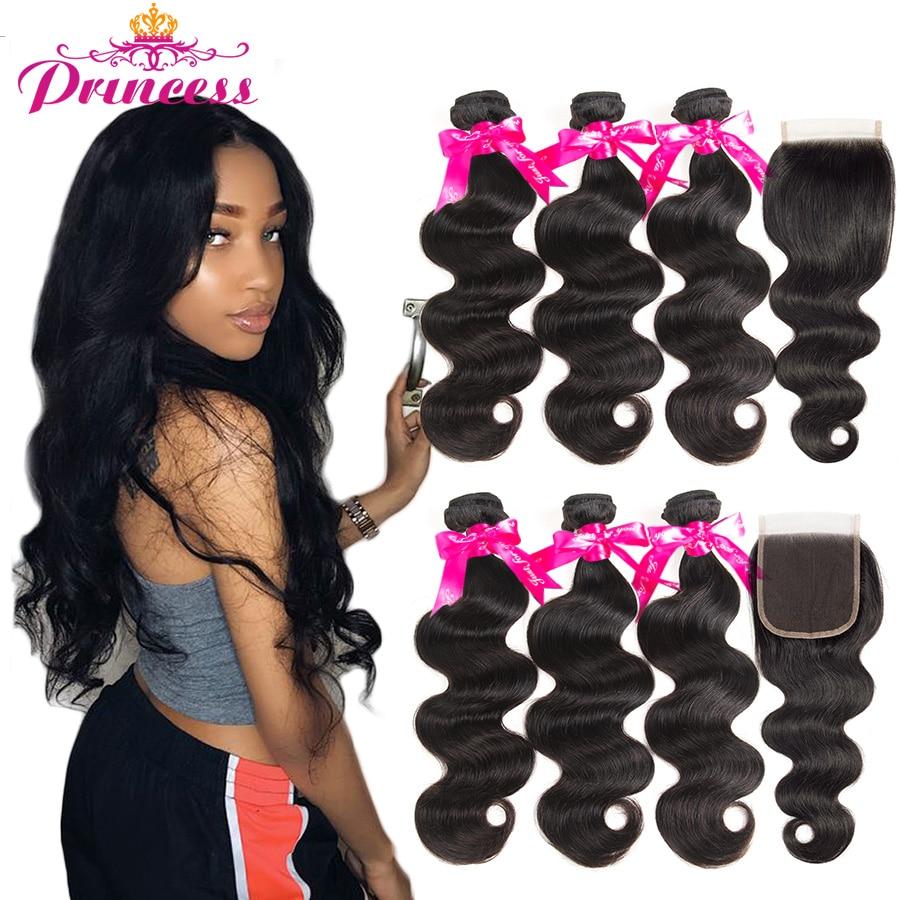 Beautiful Princess Hair 3 Bundles Peruvian Body Wave With Lace Closure Double Weft Remy Human Hair Innrech Market.com