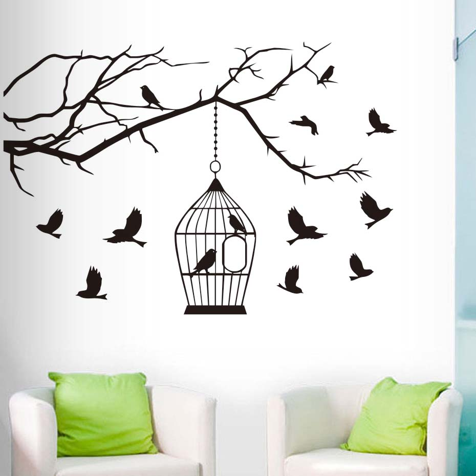 Birds On Branch Tree Wall Sticker For Living Room Wall Decor The