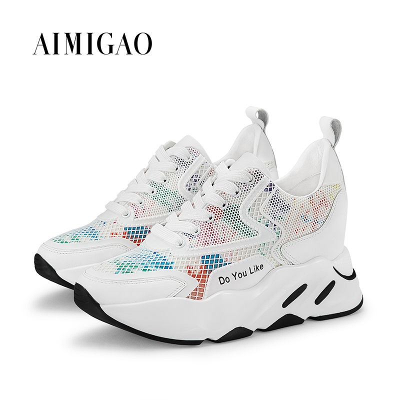 AIMIGAO роскошные кожаные Для женщин дизайнеры кроссовки на платформе Удобная толстая подошва увеличивающая рост женская повседневная обувь ...