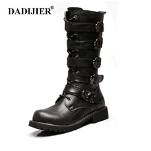 DADIJIER Army Boots Men High Military Combat Boots Metal Buckle Mid Calf Male Motorcycle Boots Leather Shoes Men Rock ZLL221