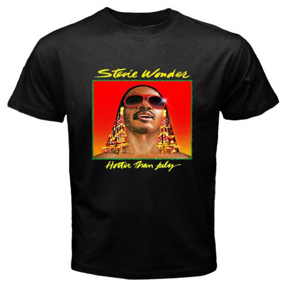 New Stevie Wonder Hotter Than July Album Cover Mens Black T-Shirt Size S-3XL Printed Round Men Tshirt Cheap Price