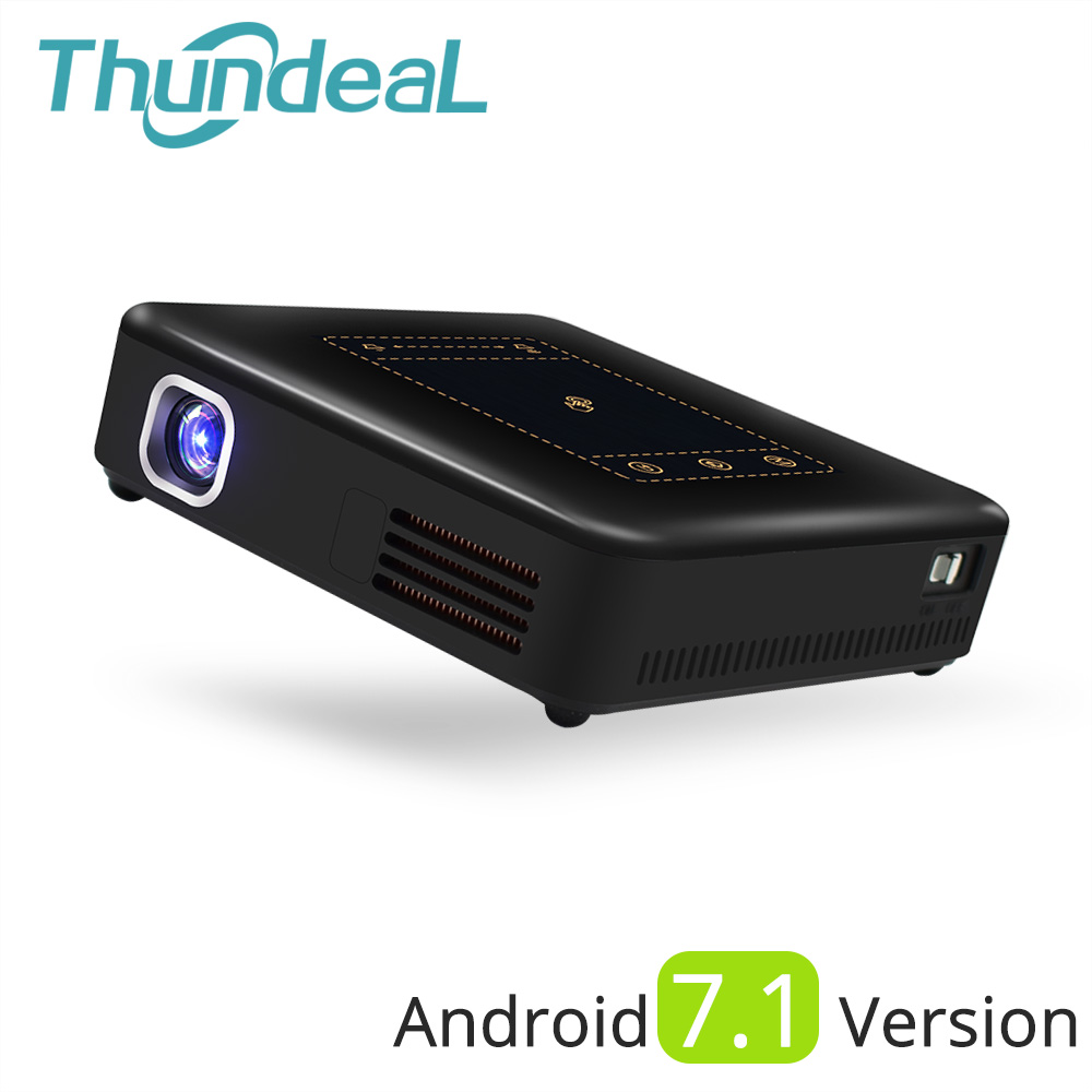 ThundeaL Android 7.1 Projecteur T20 Pico DLP 3D LED Projecteur TouchPad WiFi Bluetooth Mini-Support 4 k Beamer Batterie Accueil théâtre