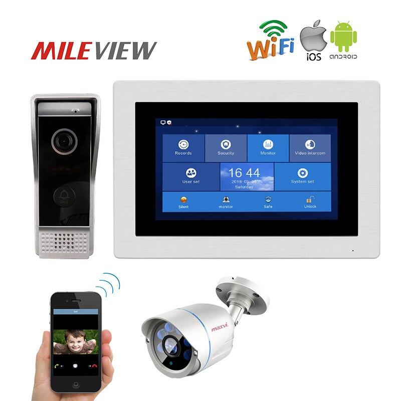 Бесплатная доставка 1.0MP 720 P HD WI FI IP 7 Сенсорный экран видео домофон запись IP Камера комплект Android IOS телефон Remote Monitor