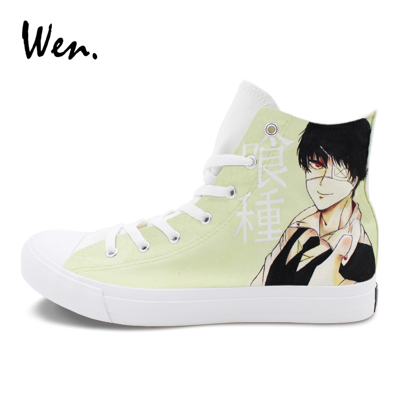 Wen High Top Sewing Canvas Athletic Sneakers Custom Design Tokyo Ghouls Hand Painted Shoes Anime Graffiti Painting Plimsolls цены