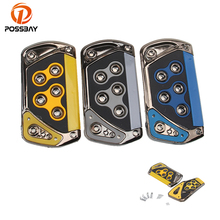 POSSBAY Car Accessories Car Brake Pedals Yellow Gray Blue Accelerator MT Footrest Pedals Pad Universal