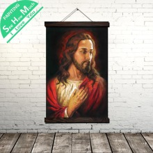 Jesus Devout Love Scroll Painting Canvas Vintage Poster and Prints Wall Art Pictures Living Room Bedroom Farmhouse Decoration
