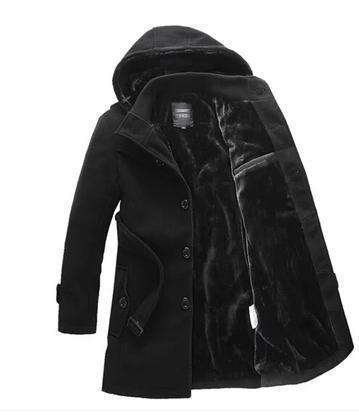 Free shipping hooded mens wool coats black grey stylish pea coats men clothing classic casual overcoats winter warm belt M - 4XL