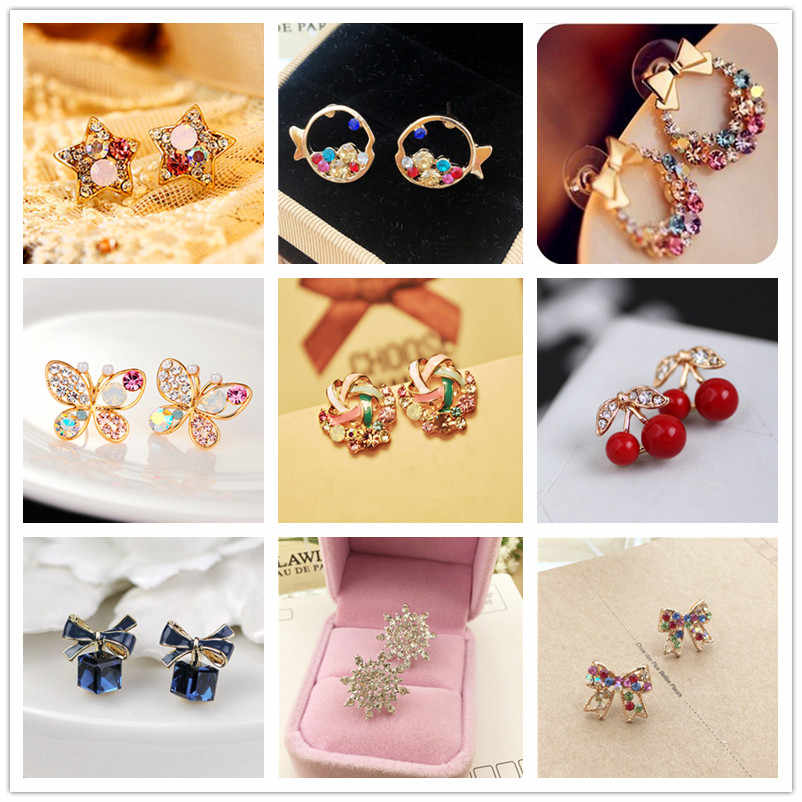 2018 Fashion Jewelry Cute Cherry Blossoms Flower Stud Earrings for Women Several Peach Blossoms Earrings S129