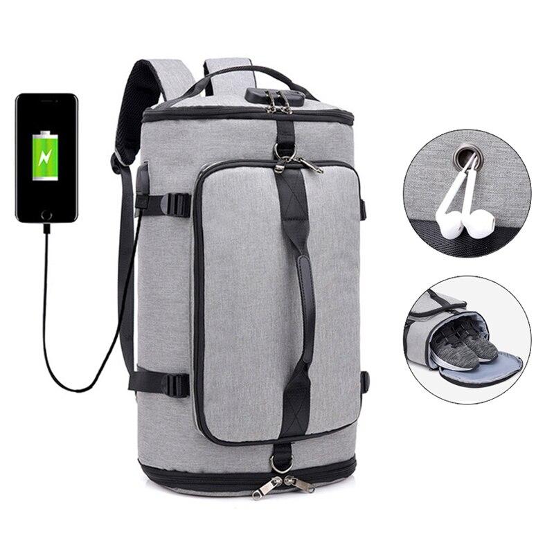 Entrenamiento de Fitness bolsa de Nylon bolsa de zapatos de los hombres de viaje mochila bolsa de deporte mochila multifunción bolso gimnasio bolsas de almacenamiento