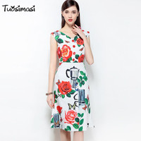 2018 Spring Summer V Neck Women Rose Printing White Keen Length Dresses C007