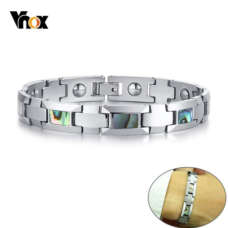 Vnox Bio Energy Magnetic Bracelets for Men Stylish Healthy Tungsten Carbide Link Chain pulsera masculina Gifts for Him