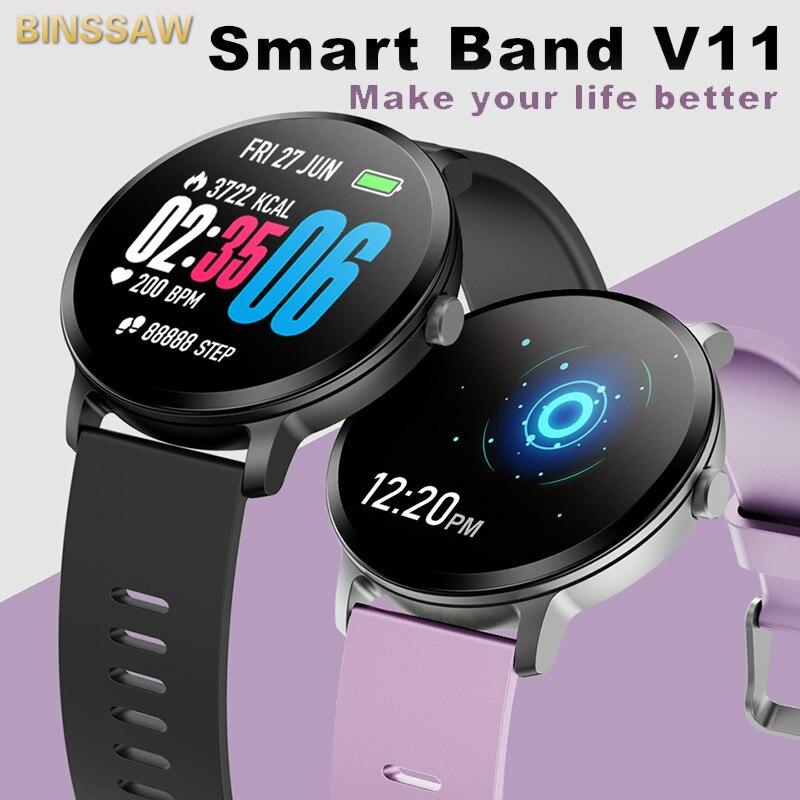BINSSAW décontracté mode bande intelligente V11 Fitness Tracker moniteur de pression artérielle hommes montre intelligente étanche Sport montre-bracelet femmes