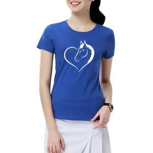 Image 5 - Fashion Love Riding Horse Women T Shirts Summer batwing sevele Cotton Funny Horse Girl T shirt Female Clothing Women Tops
