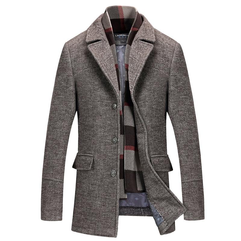 High Quality Men 50% Wool Long Coat Winter Coat Long Men Thicker Warm   Trench   Winter Warm Long Down Jackets Size 4XL