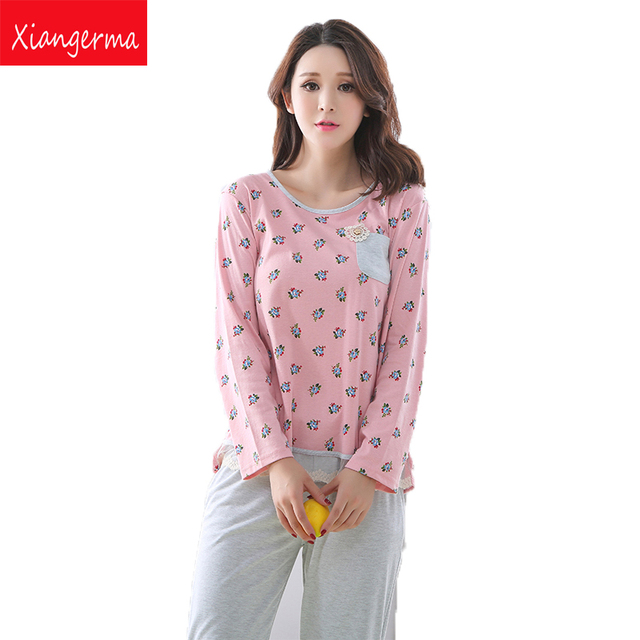 3976caf14a Xiangerma invierno mujeres jóvenes pijamas modales para Niñas nightwear  nightie pequeñas flores pijama cobertura para regalo