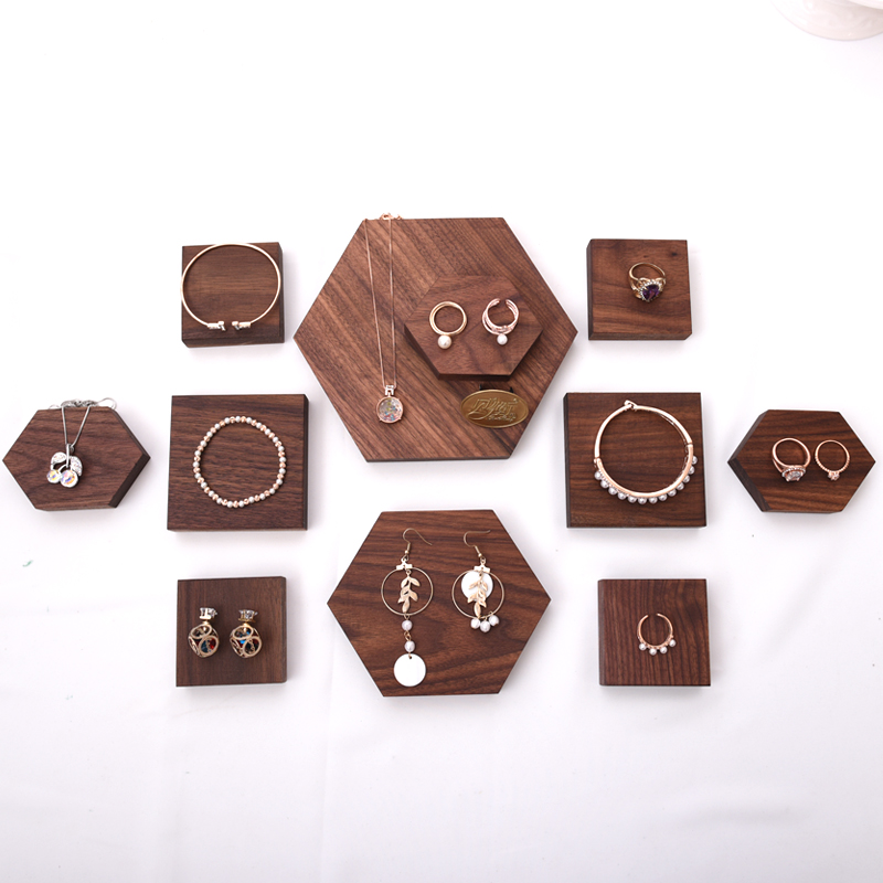 Solid Wood Jewelry Display Blocks Jewelry Display Stand Earrings,Pendant, Bracelets, Ring Display Riser
