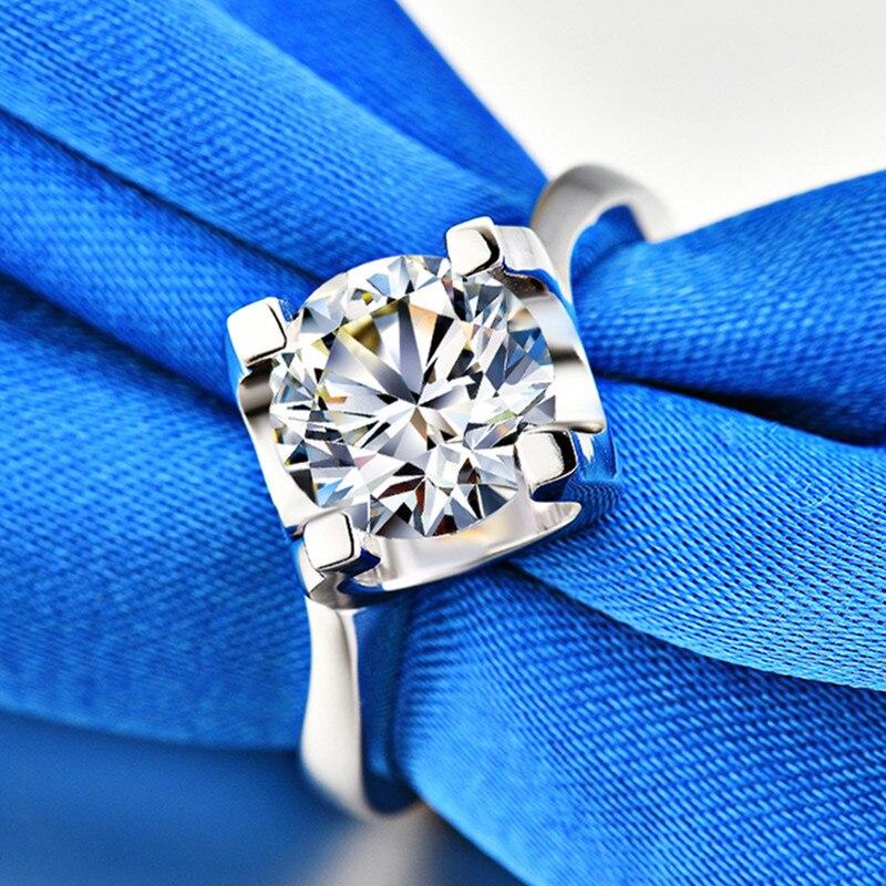 Bagues de fiançailles simples 3ct Carat AAAAA haute qualité NSCD CZ pour femmes S925 bijoux en argent Sterling couleur or blanc