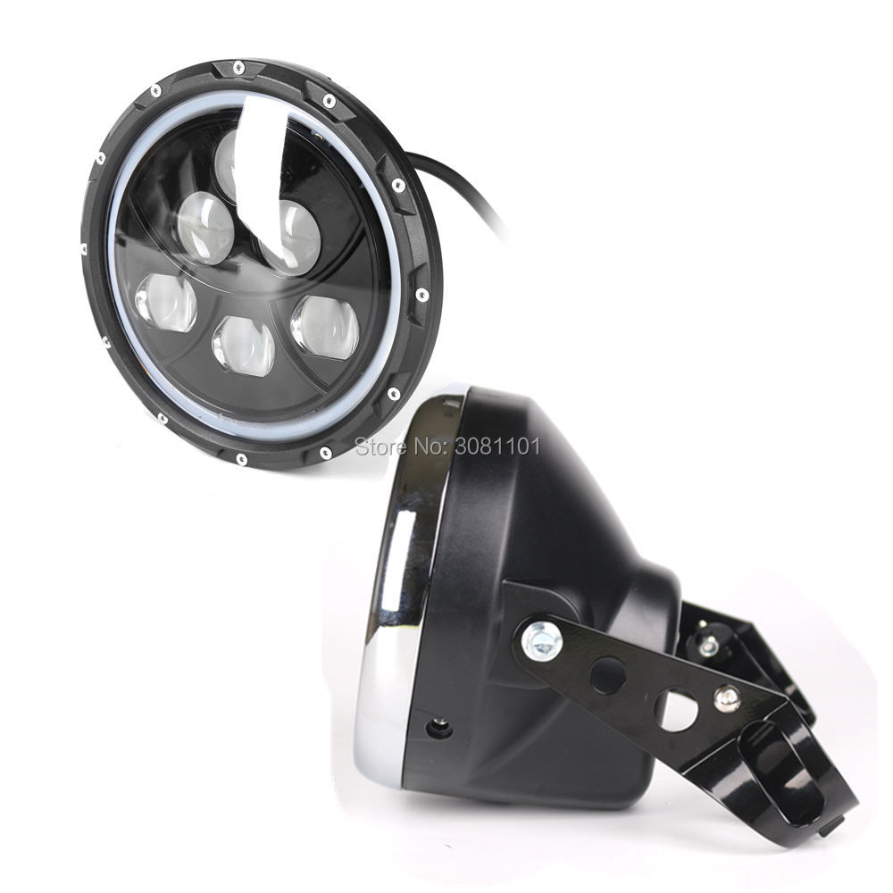 """7""""LED лампы проектора круглый Н4 6*10W СИД Откалывает набор 7""""Пластиковые ведра фара за 2000-2009 Ямаха в-Стар 1100 классик """
