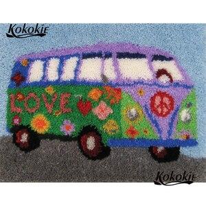 Kit de enganche de decoración para el hogar, kit de enganche, alfombra de lona, impresión en 3d, juegos de tapicería, accesorios bordados en 3d, autobús de dibujos animados